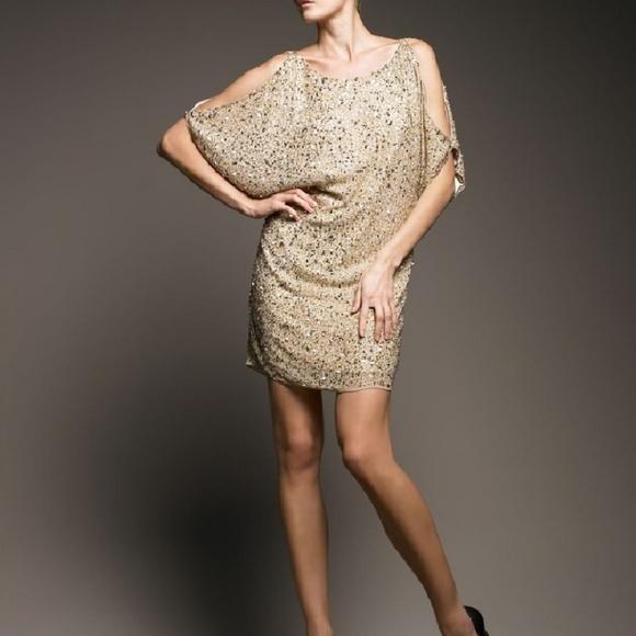 797ee47369bb8 Aidan Mattox Cold Shoulder Gold Sequin Shift Dress